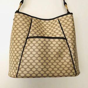 Celine Ivory Macadam Canvas Shoulder Bucket Bag
